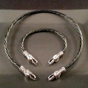 raven torc silver necklace bracelet set viking