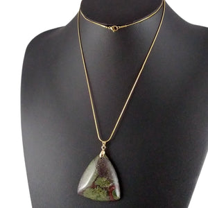 dragon bloodstone necklace gold red green statement womens pendant triangle