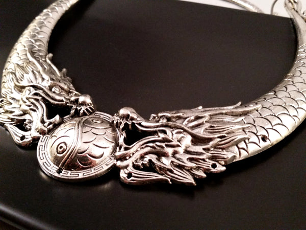 dragon choker necklace silver larp statement yin yang asian