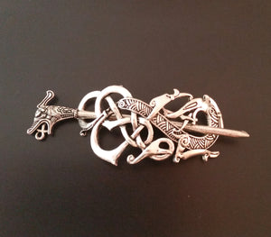 silver dragon hair clip barrette viking