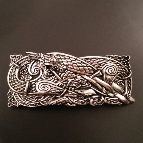 Dragon Hair Barrette Clip Silver Celtic LARP