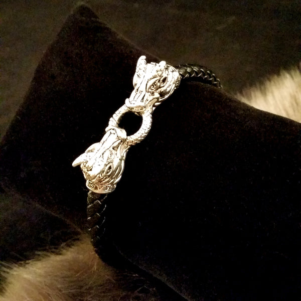 Black leather silver dragon head clasp bracelet mens