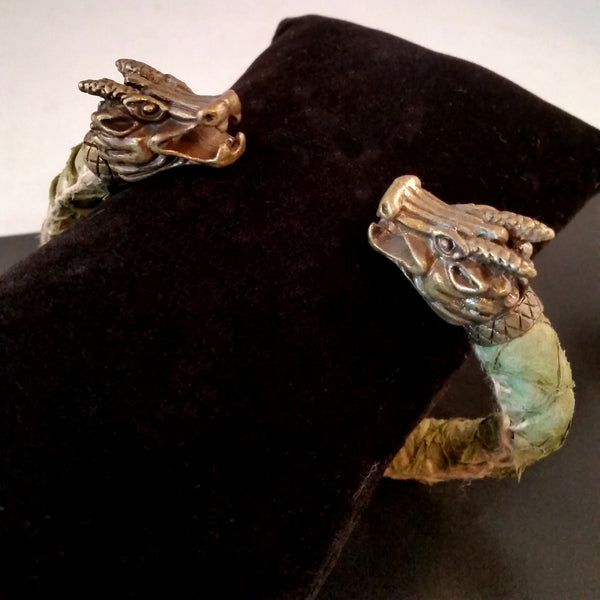 Dragon Scale Leather Bronze Bracelet Torc Green