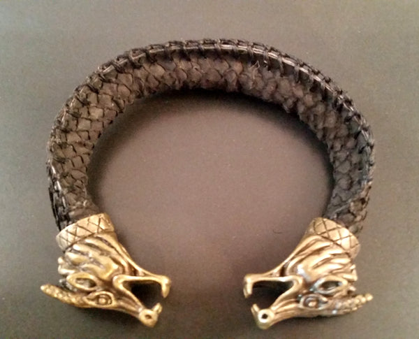 Dragon Scale Leather Bronze Bracelet Torc
