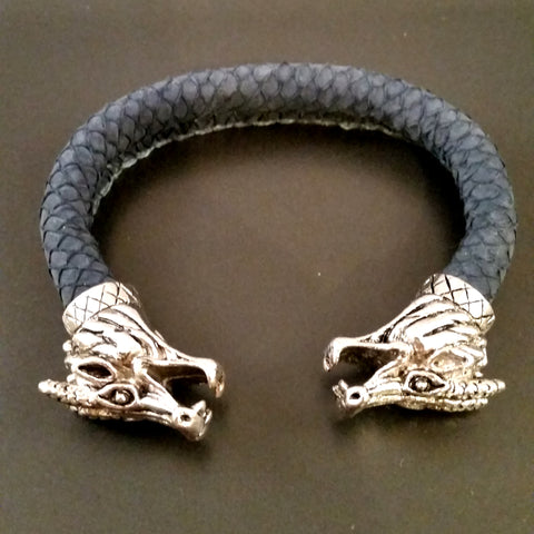 Dragon Scale Leather Silver Bracelet Torc Blue