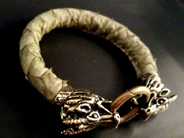 Leather Dragon Scale Bracelet Bronze Green