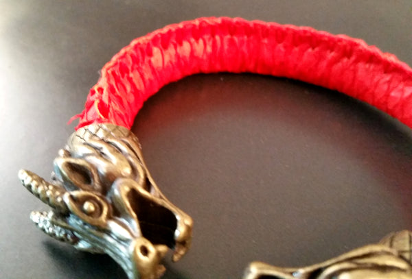 Dragon Scale Leather Bronze Bracelet Torc Red