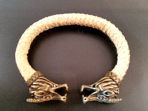 Dragon Scale Leather Bronze Bracelet Torc Beige