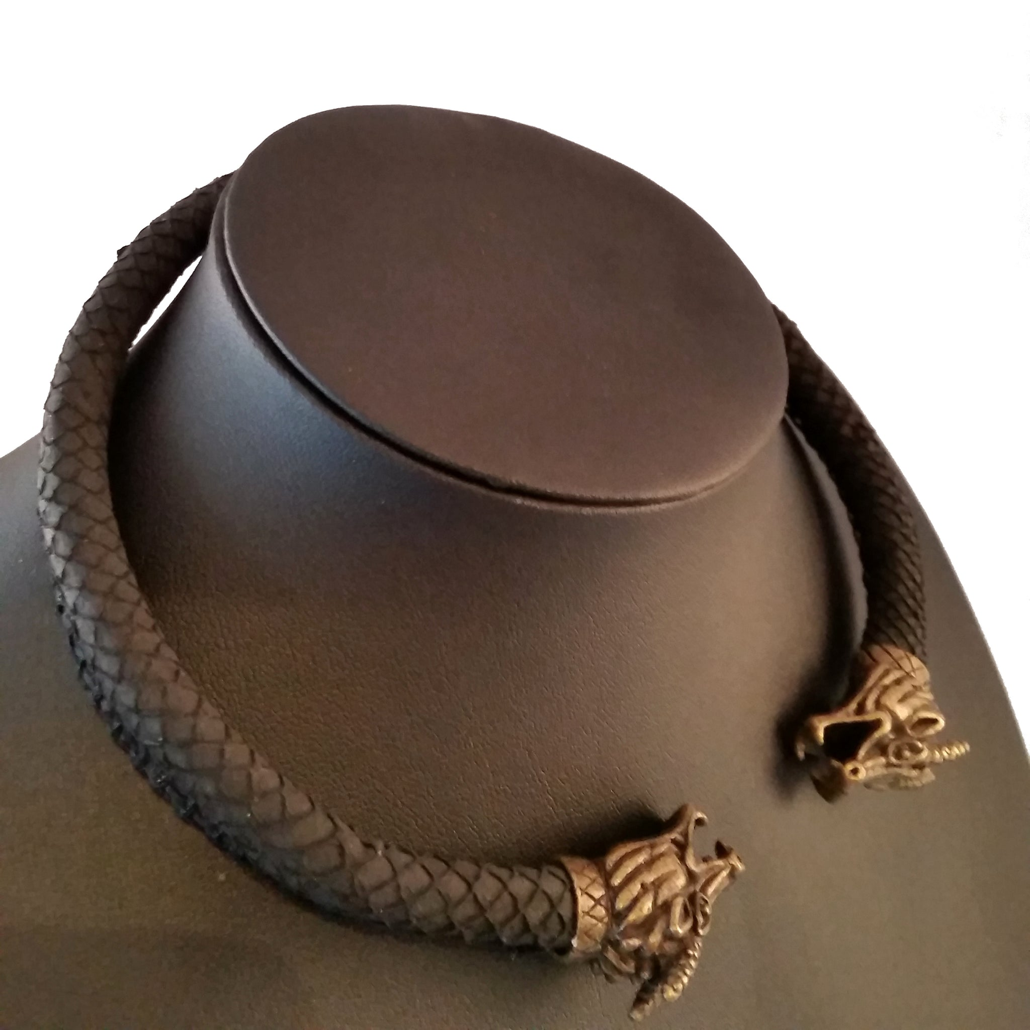 Black Dragon Scale Necklace Bronze Torc Viking LARP Rock