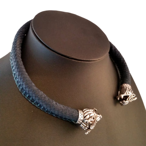 blue leather dragon scale necklace torc silver choker LARP Rock Viking