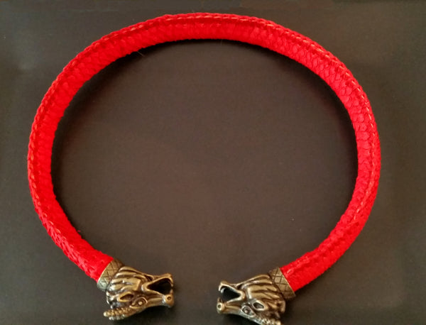 Red leather dragon scale necklace torc bronze choker LARP Viking