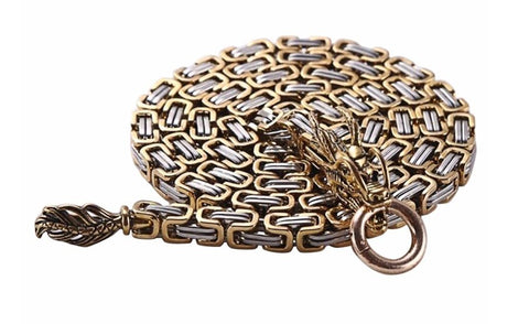dragon chain bracelet wallet gold silver byzantine tactical defense