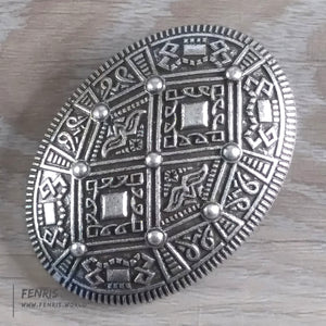 viking oval brooch dress silver norse coat pin
