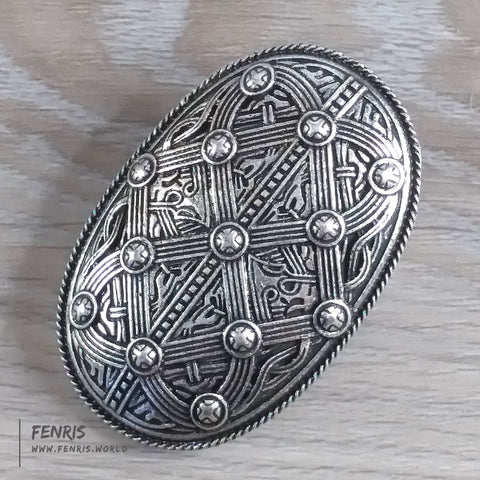 oval viking brooch dress pin silver norse coat