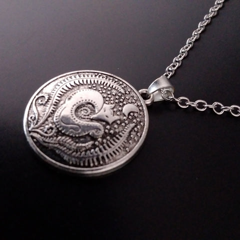 fox moon necklace silver esoteric nature pagan witch