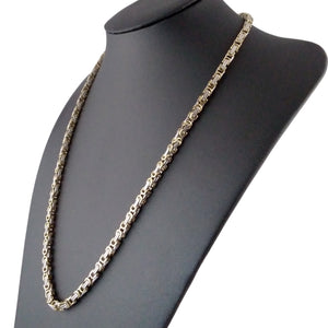 Byzantine weave necklace gold silver square mens chain