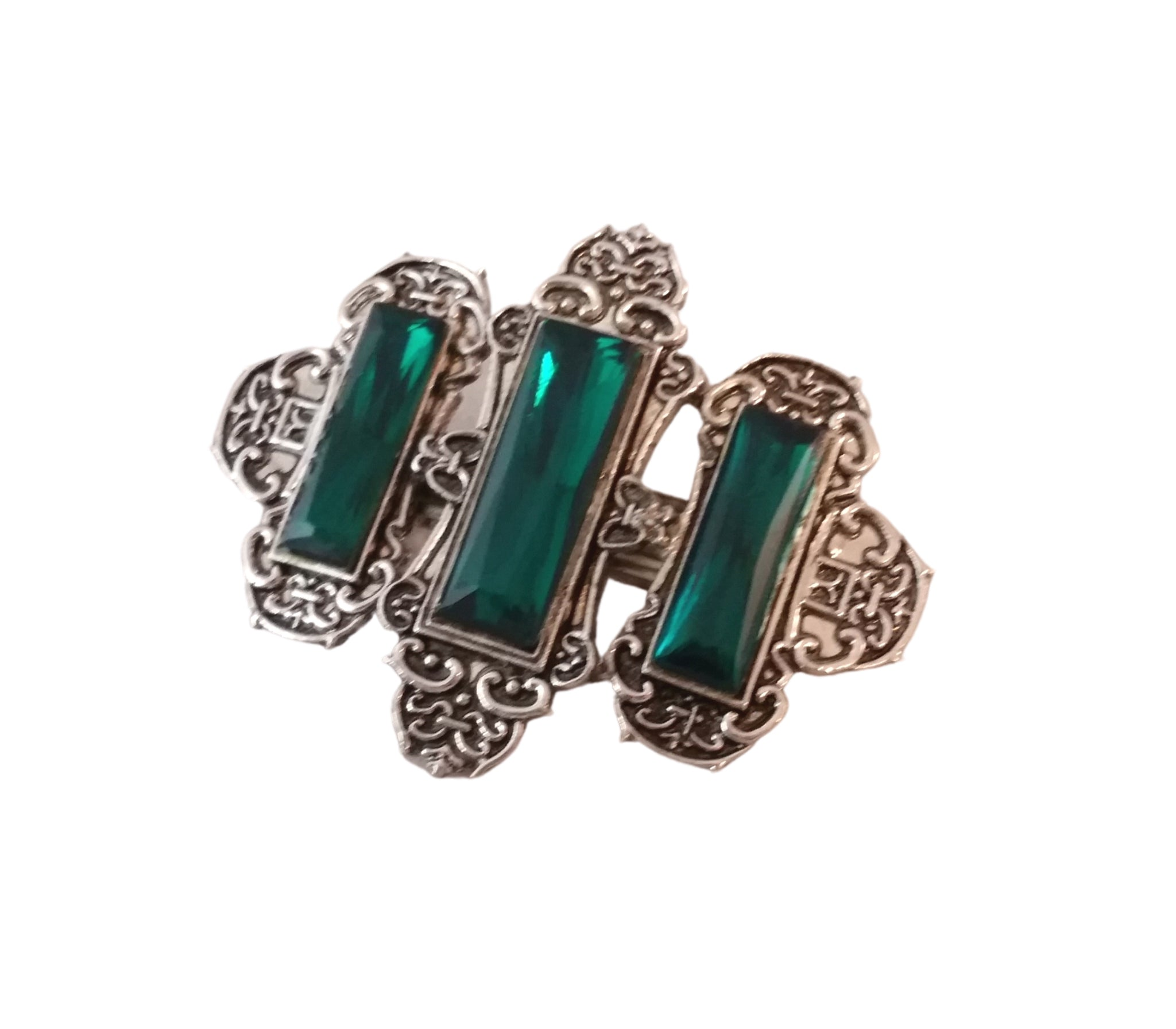 silver barrette green jeweled gothic goth lolita witch vampire