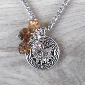 green man necklace silver celtic amber leaf charm larp viking nature