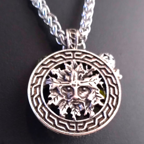 green man necklace silver amber celtic viking nature mens womens unisex