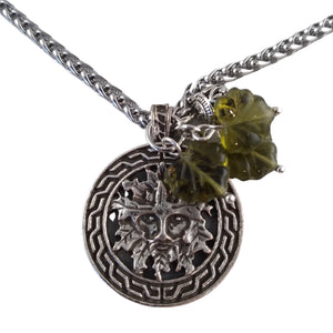 Silver Celtic Green Man Necklace Pendant Green Leaf Beads & Silver Filigree Charm LARP Nature Gift