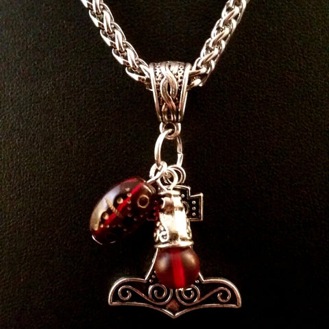 silver red glass charm necklace thor's hammer LARP boho Viking