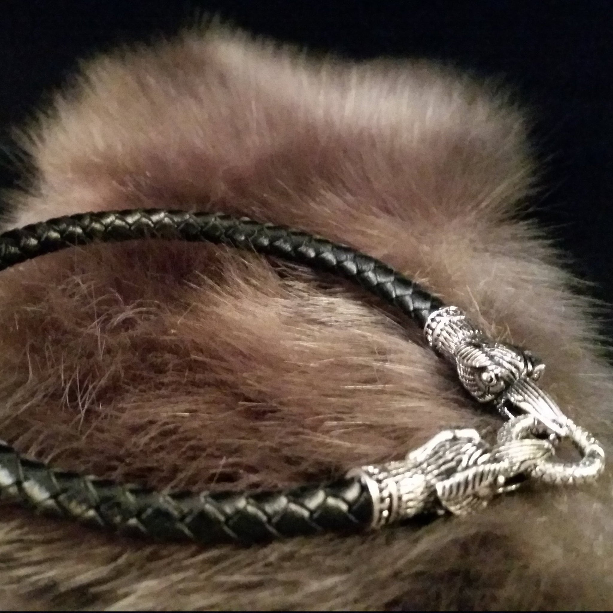 Black leather silver raven bracelet