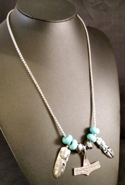 silver southwest turquoise feather necklace bird thor's hammer viking