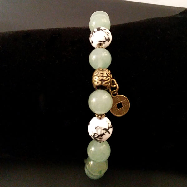 Jade Aventurine Bracelet Chinoiserie Green Bead Retro Asian