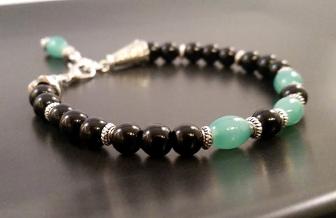 Green Jade & Black Obsidian Gemstone Bracelet Art Deco Silver Beaded Adjustable