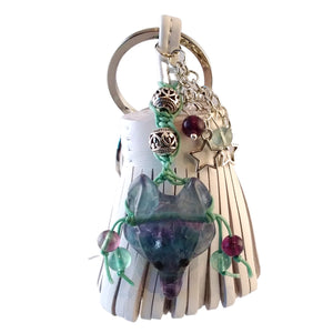 wolf keychain white leather tassel fluorite green purple blue bag charm