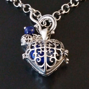 silver heart necklace blue lapis charm bee valentines gift