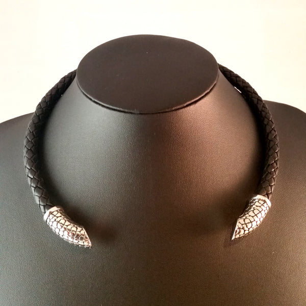 torc choker necklace black leather silver modern reptile