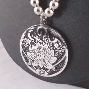 lotus moon necklace silver esoteric pagan wicca witch