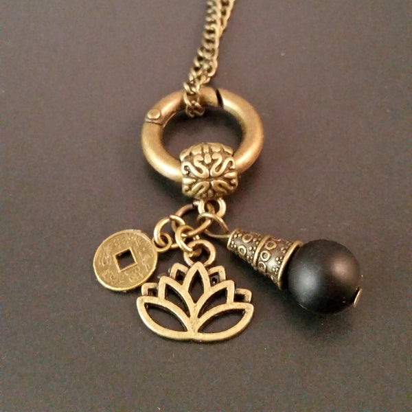 Bronze Obsidian Lotus Charm Necklace Black
