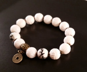 White Lotus Bracelet Bead chinoiserie retro asian