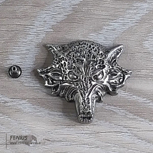 wolf rivet stud silver large biker punk leather
