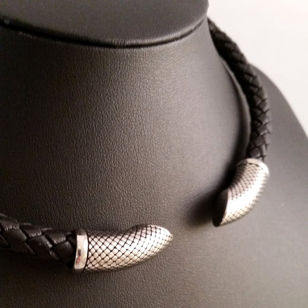 mens modern torc choker silver black leather jewelry necklace