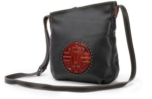 black red leather handbag purse messenger bag asian retro boho gothic goth