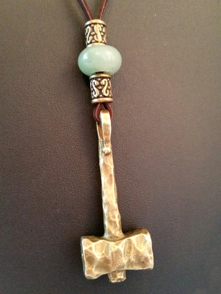 brown leather necklace jade green aventurine bronze thor's hammer LARP viking