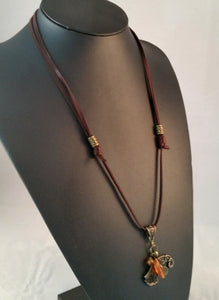 necklace bronze raven brown leather amber viking