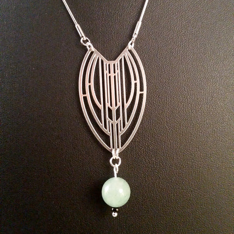 art deco necklace silver jade aventurine long