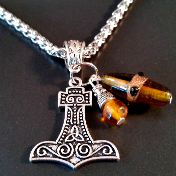 thor's hammer necklace silver amber norse viking