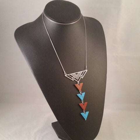 triangle necklace silver turquoise red jasper taliesin frank lloyd wright