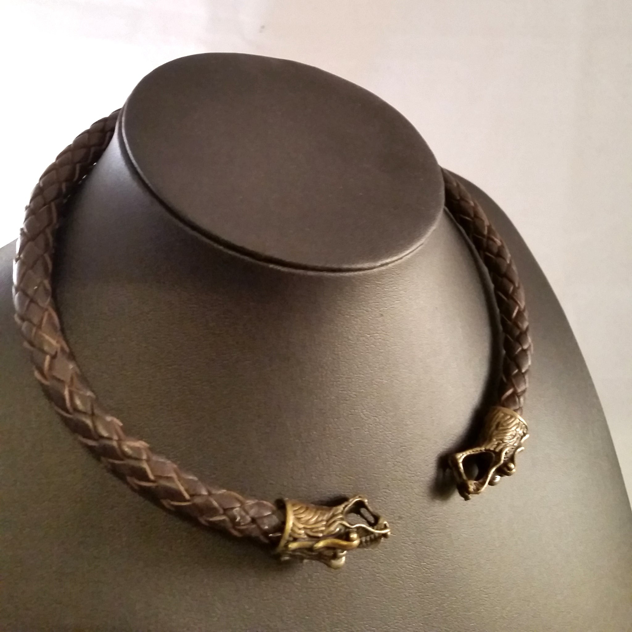 Dragon Torc Necklace Bronze Brown Leather Viking LARP Choker