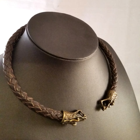 Fenris Nappa Leather Torc, Bronze Dragon Heads, Brown, Viking Celtic LARP