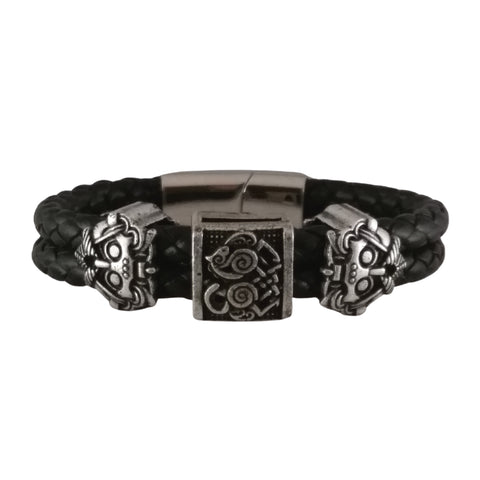 odin slepnir bracelet silver black leather viking norse men