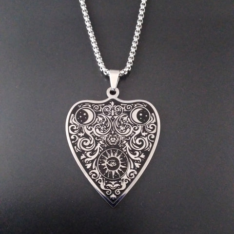 silver ouija planchette necklace divination wicca esoteric
