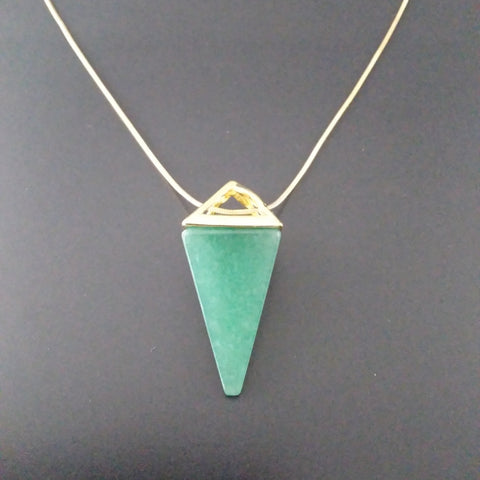 green jade gold pendulum necklace minimalist modern divination