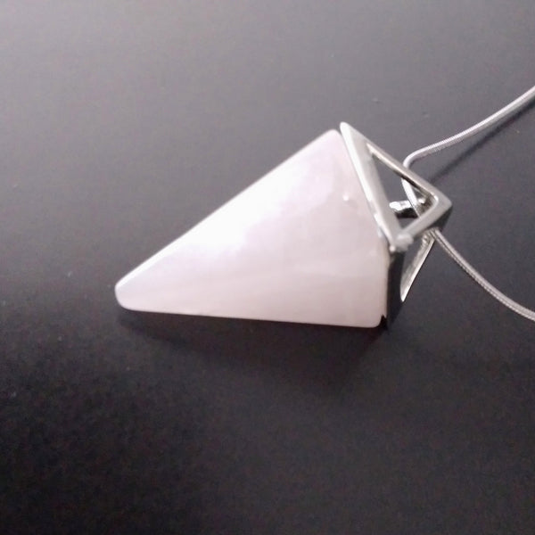 rose quartz pink pendulum necklace modern minimalist triangle divination