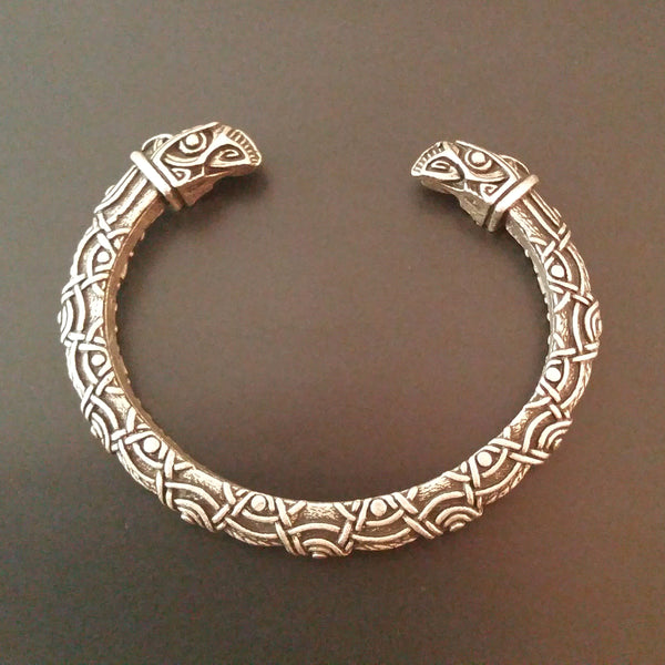 raven bracelet silver knotwork tribal viking norse nature mens gift